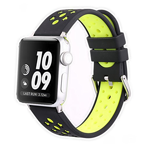 Apple Watch Band, Solomo iWatch Strap Stars Design Ventilation Holes Sport Replacement Wristband with Stripe Color Splicing Style for Apple Watch Series 3, Series 2, Series 1,Sport,Nike+ (42MM Yellow) -  YuanHeng Digital Technology Co.,Ltd, AWBS-SDSB-TOP1-BY42