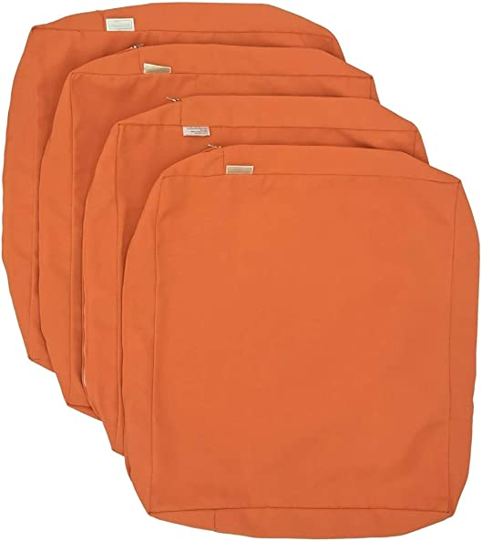 CozyLounge Sunkissed Orange Outdoor Water Repellent Patio Chair Cushion Seat Pillow Covers ONLY 25″x25″x5″ 4 Covers