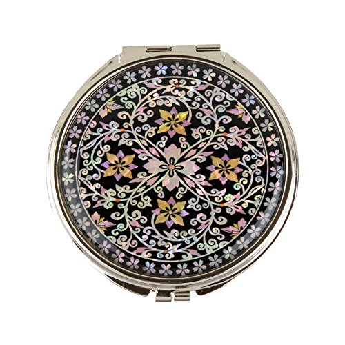 Round Compact Magnifying Make Up Double Sided Mirror Mother Of Pearl Art Flower Vine