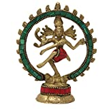 Toyinngg Religious Home Decor Shiva Nataraja Statue Dancing Brass Statue with Stone Work 4x8.5x1.5 Inches; 200 Grams