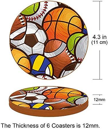 Redondo Portavasos Béisbol Baloncesto Fútbol Posavasos de Cuero Juego de 6 Coaster para Vaso/Copa de Bebida/Copa de Vino Tinto/Copas/Vaso de Cerveza 11x11 cm