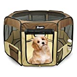 """Jespet 61"""" Pet Dog Playpens, Portable Soft Dog Exercise Pen Kennel with Carry Bag for Puppy Cats Kittens Rabbits,Brown"""