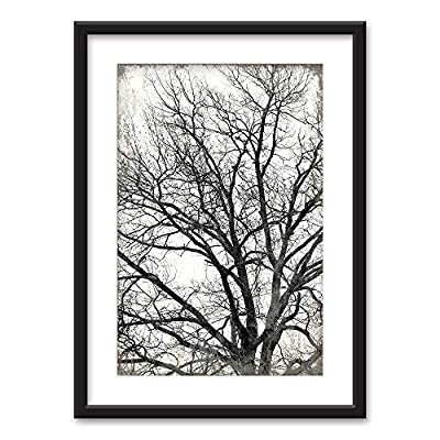 Framed Wall Art - Tree in Black White on Vintage Background - Black Picture Frames White Matting - 23x31 inches