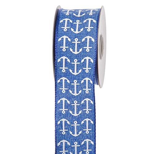 Darice 30019516 Blue Nautical White Anchors: 1.5 inches x 10 Yards Ribbon, Blue & White]()