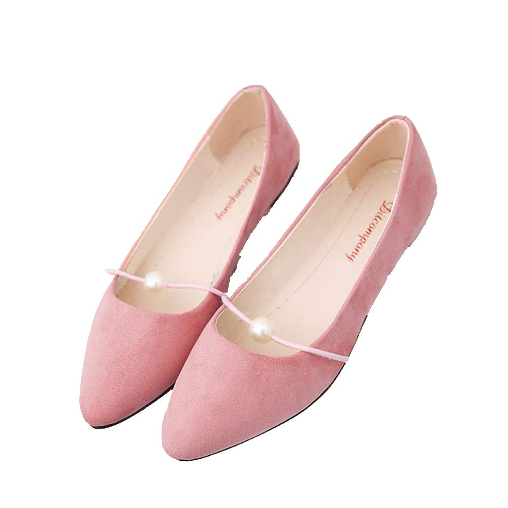Women's Casual Comfort Faux Suede Pointed Toe Pearl Ballet Slip On Flats Shoes Fashion Sandals (US:8.5, Pink)