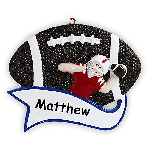 Rudolph and Me Personalized Football Player in Helmet Sports Ball with Banner Christmas Ornament Holiday Tree Decoration with Custom Name