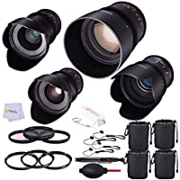 Rokinon 4 Lens Bundle for Sony-E Mount Kit Includes: Rokinon 85mm T1.5 + Rokinon 50mm T1.5 + Rokinon 35mm T1.5 + Rokinon 24mm T1.5 + 4 Lens Pouches + Filter Kit & More!
