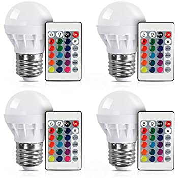 [4 Pack] LVJING RGB LED Light Bulb With Remote Control, 3W, 150LM