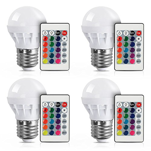 [4 Pack] LVJING RGB LED Light Bulb With Remote Control, 3W, 150LM, E27 Screw Base, 5050SMD, Color Changing, Perfect for Birthday Party / KTV Decoration / Home Use / Bar / Wedding (White) - Led Color Changing Panel