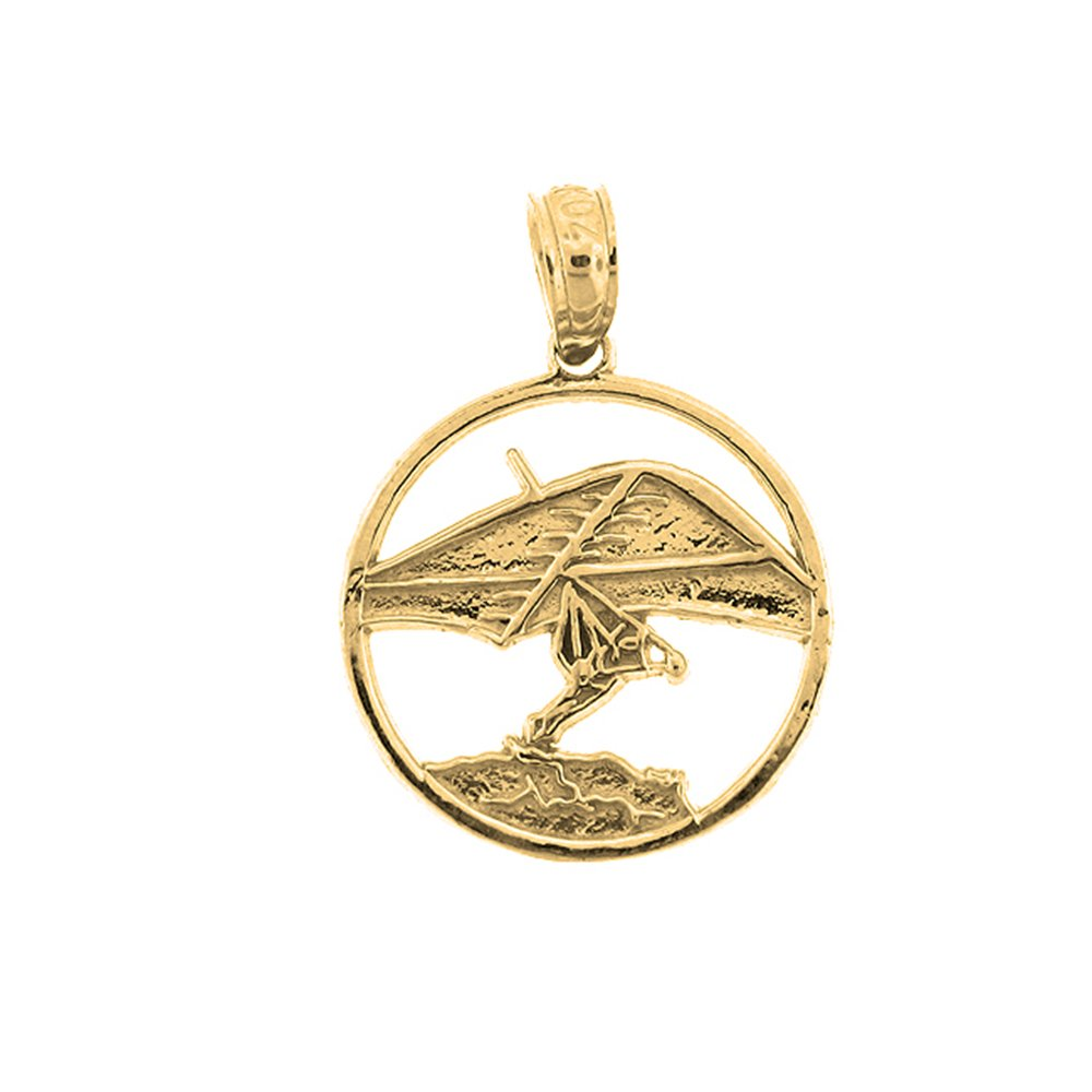 14K Yellow Gold-plated 925 Silver Hand Gliding Pendant with 16 Necklace Jewels Obsession Hand Gliding Necklace