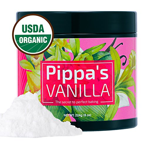 Pippa's Organic Vanilla Powder (8 oz) White Baking Grade - Perfect Vanilla Extract Substitute All Natural Great For Coffee