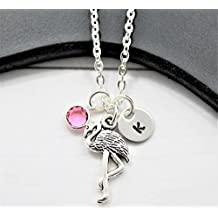 Personalized Flamingo Necklace - Flamingo Themed Gift Ideas for Girls - Custom Swarovski Birthstone & Initial - Fast Shipping