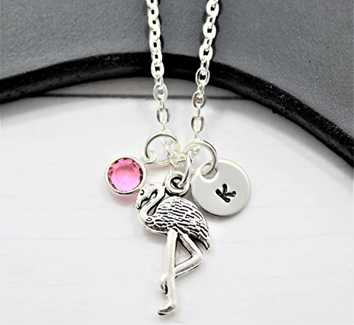 (Personalized Flamingo Necklace - Flamingo Themed Gift Ideas for Girls - Custom Swarovski Birthstone & Initial - Fast)