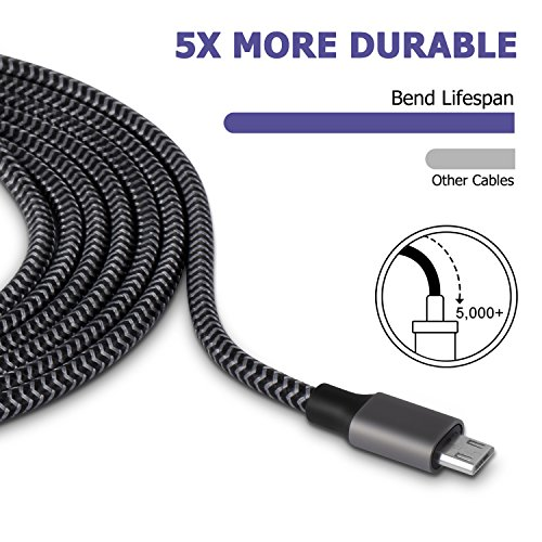 Micro USB Cable, 3pack 10ft Nylon Braided Durable Micro USB to USB Fast Charger for Android Smartphones, Sony, HTC, Nokia, Nexus, LG, Motorola, PS4, Xbox One and More(Black) by CellCable (Image #4)