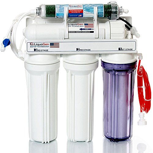 LiquaGen 5-Stage Reverse Osmosis/Deionization (RO/DI) - Aquarium Reef Water Filter System, 75 GPD by LiquaGen