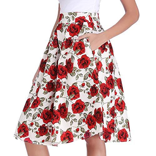 Jupe Haute Plisse Patineuse Taille line 2X Rtro Florale longue A Large Imprime Mi Luxspire Blanc Noire Jupe dHfqnwxd