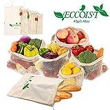 Reusable Produce Bags,Washable Set 8 (2XS, 2xM, 2XL, 2xbread Bag) Vegetable Fruit Bags,Machine Washable, Light Weight, Zero Waste Shopping