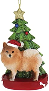 Kurt Adler POMERANIAN WITH CHRISTMAS TREE ANE LIGHTS ORNAMENT FOR PERSONALIZATION