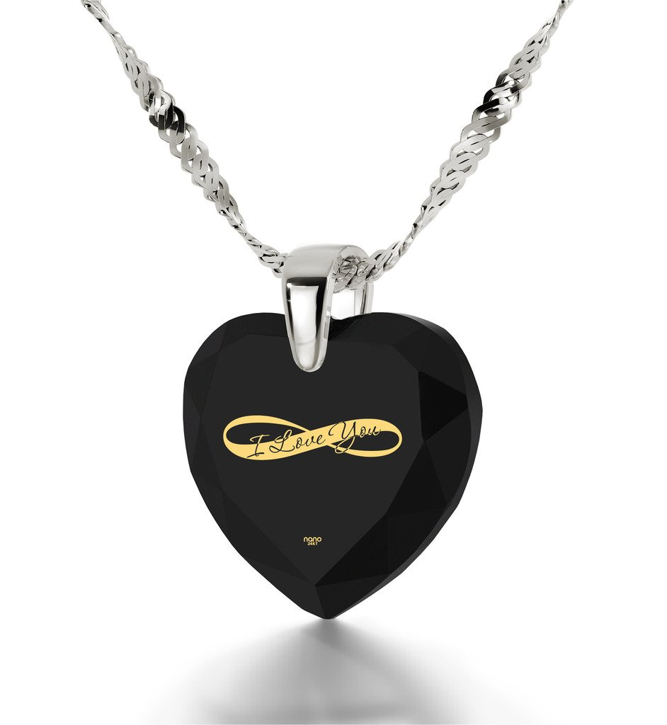 925 Sterling Silver Heart Necklace I Love You Pendant Infinity Symbol 24k Inscribed Black CZ, 18'' Chain