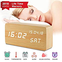 Digital Alarm Clock, Desk Clock Wood Digital Clocks with 3 Alarms 3 Brightness Voice Control LED Display Temperature Humidity, Mini Travel Clock Wooden Clock for Home Bedrooms Office Desk Shelf Kids