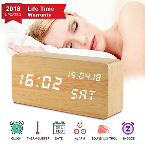 Digital Alarm Clock, Desk Clock Wood Digital Clocks with 3 Alarms 3 Brightness Voice Control LED Display Temperature Humidity, Mini Travel Clock Wooden Clock for Home Bedrooms Office Desk Shelf Kids - Wood Mini Clock