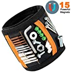 Magnetic Wristband 15 Powerful Magnets, YOUNI Tool Wristband with Pocket for Holding Screws, Nails, Bolts, Drill Bits, Fasteners, Scissors and Other Small Tools(Black)