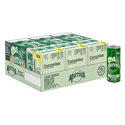 Perrier Cucumber Lime Flavored Carbonated Mineral Water, 8.45 Fl Oz Cans, Pack of 30 ()