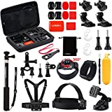Luxebell Outdoor Sports Accessories Kit for Gopro Hero 5 Session Hero 4/3+/3+2 Sjcam Sj4000 Sj5000 Sj6000 DBPOWER 12MP/EX5000 14MP (30-in-1)