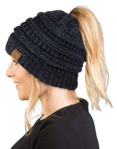 BT-6800-6206 Messy Bun Womens Winter Knit Hat Beanie Tail - Onyx Black