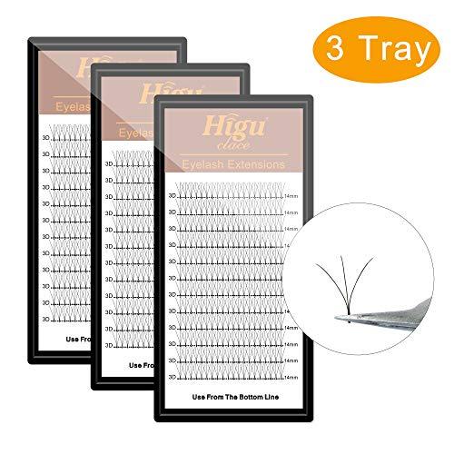 - 3 Tray 3D D Curl Volume Eyelash Extension 13mm+14mm+15mm Long Stem Fans| Optional C/D Curl 8-15mm Length |