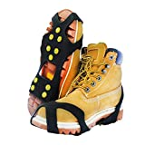 RENHAIGY Crampons Traction Ice Axe Snow Cleats Grips with Anti Slip Steel Studs Spikes Microspikes Rock Climbing Fishing Hiking Camping Winter Mountaineering Shoes Boots Gear Men Women