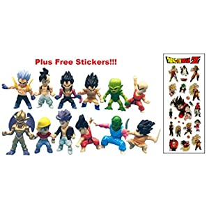 Infinite Deal and Creations 12 Dragon Ball Z Figures plus 16 Free Stickers: Goku Gohan Trunks Vegeta Kakarot by