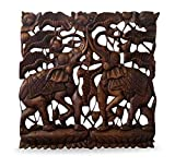 livasia Carved wooden wall Plaque with Elephants, handmade in Thailand with unique carvings, beautiful home accessory