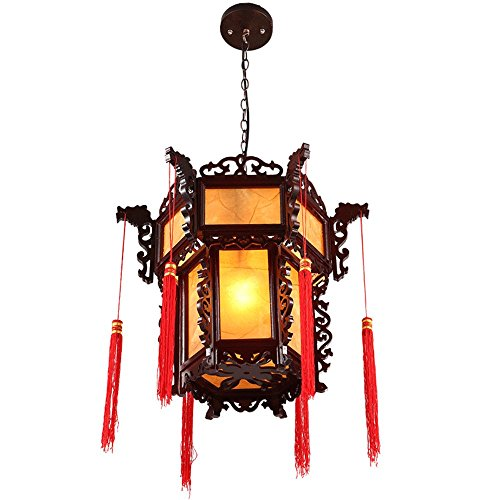 Leihongthebox Ceiling Lights lamp Antique Chinese lantern teahouse temples decorated with chandeliers hanging chandeliers vellum light wooden lamp for Study Room, Bedroom, Living Room,430h450mm by Leihongthebox (Image #3)