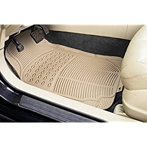 Zone Tech All Weather Rubber Semi Pattern Car Interior Floor Mats – 4-Piece Set Beige Heavy Duty Car Interior Floor Mats