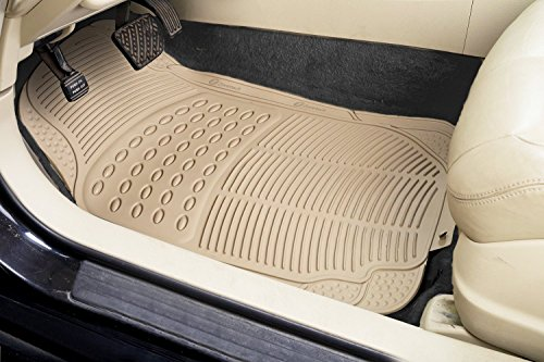 zone tech all weather rubber semi pattern car interior floor mats 3 piece set beige heavy duty. Black Bedroom Furniture Sets. Home Design Ideas