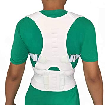 8564b5a289f Image Unavailable. Image not available for. Color  Male Female Adjustable  Magnetic Posture Corrector Corset Back Brace Belt Lumbar Support Straight  ...