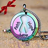 rom to room fan - Faith Hope Love Aromatherapy Essential Oil Diffuser Necklace Locket Pendant Jewelry Gift Set with 20