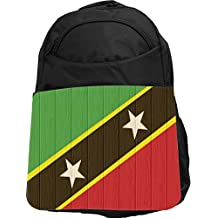 Rikki Knight UKBK Saint Kitts And Nevis Flag on Distressed Wood Tech BackPack - Padded for Laptops & Tablets Ideal for School or College Bag BackPack