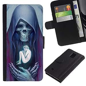 iKiki Tech / Cartera Funda Carcasa - Angel Death Human Bones Skull - Samsung Galaxy Note 4 SM-N910