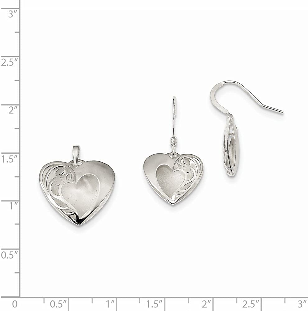Jewel Tie 925 Sterling Silver Heart Polished Laser-cut Earring and Pendant Set