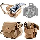 Etui avec bandoulière pour appareil photo Nikon COOLPIX P530, P600 et S33 - style vintage couleur beige/sable - DURAGADGET