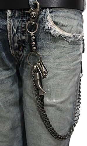 TFJ Men Wallet Chain Fashion Metal Spike Horn Charm Keychains Skull Rusty Silver