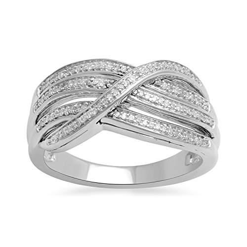 Jewelili Sterling Silver 1/5cttw Round Diamond Three Row Bypass Ring, Size 7