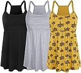 SUIEK Women's Nursing Tank Top Cami Maternity Bra Breastfeeding Shirts (Large, Black+Grey+Yellow Print - Fourth Style)