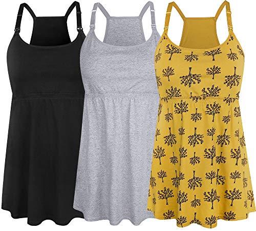 SUIEK Women's Nursing Tank Top Cami Maternity Bra Breastfeeding Shirts (Small, Black+Grey+Yellow Print - Fourth Style)