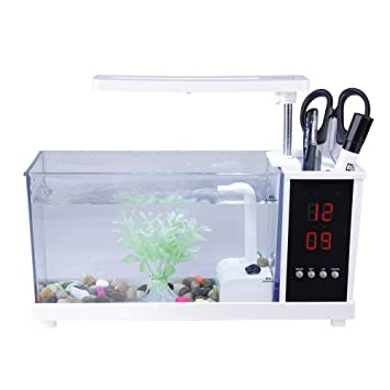 Acuario de Escritorio, Multifuncional USB Mini Tanque de Peces Recargables con Agua Corriente Led Luz de la Bomba Calendario Reloj Despertador Contenedor de ...