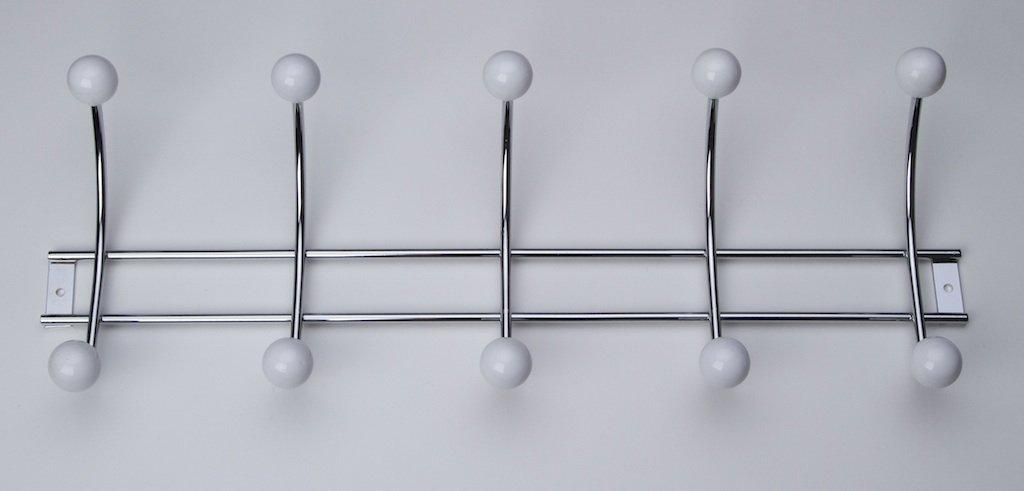 Porzellan glanz chrom weiss mit 5 Haken 480 x 168 x 80mm Garderobe Hakenleiste Garderobenleiste Kleiderhaken Stahl