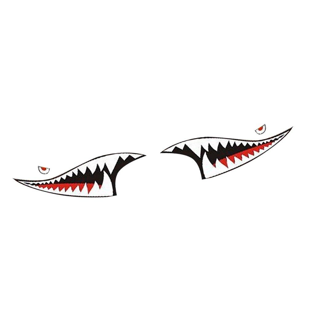#2 MagiDeal 2 Pezzi Vinile Adesivo Decal Denti Di Squalo Bocca Impermeabile Fai Da Te Auto