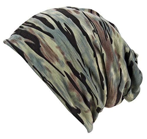 (Itzu Men's Army Camo Jersey Beanie Snood 2 in 1 Hat (Wave Print (Blue)))